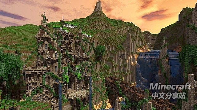 minecraft我的世界-山崖小镇 - minecraft中文分享站