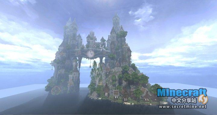 Minecraft我的世界地图存档发条时钟孤岛是一个漂流在海上孤零零的小岛,但是岛上的建筑却非常奇特,两个双子城堡中间连着一个发条时钟,看起来就像一个空中走廊一样,奇特的建筑。 如果你想了解和下载更多的Minecraft我的世界中好玩有趣的地图存档就来我的世界地图存档专区吧。