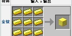 我的世界金块合成方法详解